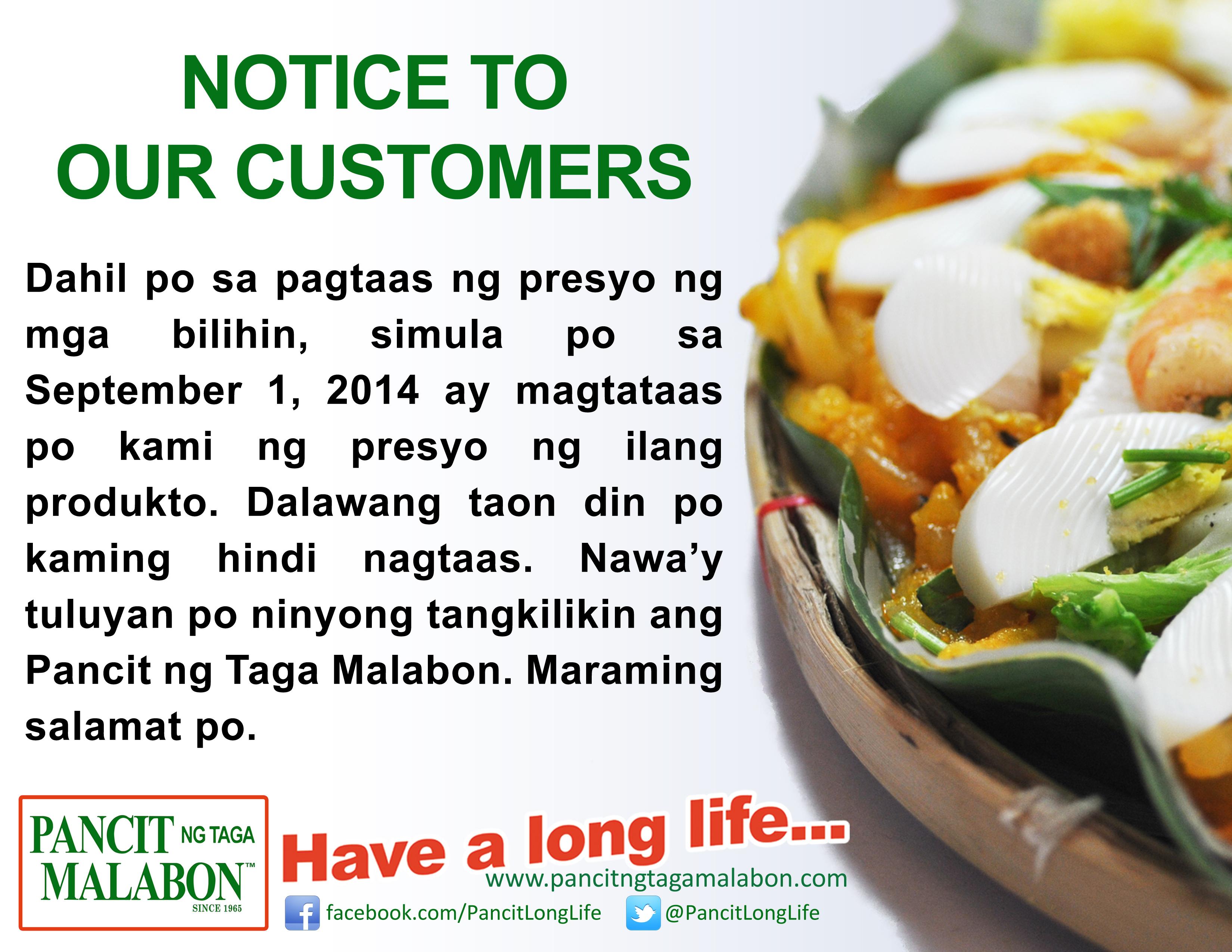 Pancit ng Taga Malabon price increase notice